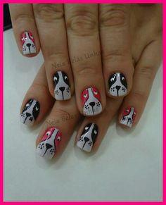 puppy dog nails love it Dog Nail Art, Animal Nail Art, Dog Nails, Fancy Nails, Bling Nails, Cute Nails, Pretty Nails, Nail Art Designs, Animal Nail Designs