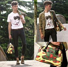 Geox X Camotartan Camotartan Bag, Chevignon Canard Laqué Tee, Beige Brogues, Military Jacket