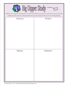 Handbook of Nature Study: Outdoor Hour Challenge - Big Dipper Year-Long Study with free printable notebook page.