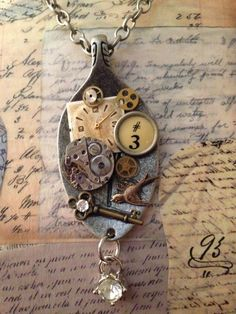 Steampunk Watch Face Necklace watch movement by LoveEuniceDesigns, $34.00