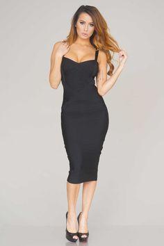 4b8187f2049 Rissa structured midi bandage dress (Black)