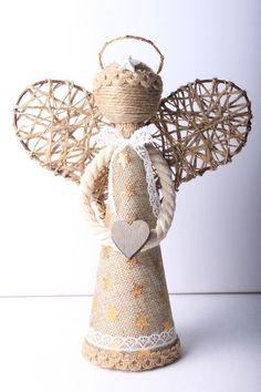 Jutové vánoční dekorace: anděl