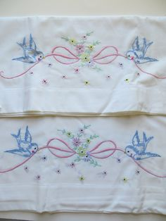 Vintage Embroidered Pillowcase-Chubby Bluebirds-Crochet Lace. $18.00, via Etsy.