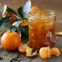 orange mandarin homemade jam marmelade in a glass jar Chutneys, Sauce Chili, Marmalade Recipe, Vegetable Drinks, Greek Recipes, Hot Sauce Bottles, Preserves, Brunch, Food And Drink