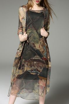 Revienne Bay Colormix Printed Cardigan And Tank Dress And Tank Top | Midi Dresses at DEZZAL