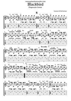 """Blackbird"" Guitar part as played by Beatles in Tab and Notation. Banjo Tabs, Guitar Tabs Songs, Music Chords, Guitar Sheet Music, Guitar Tabs Acoustic, Guitar Chords, Ukulele, Fender Squier, Beatles Guitar"