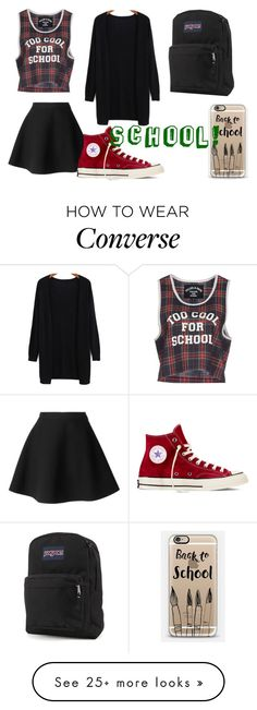 """""""back to school #2"""" by lilyrose-fowler on Polyvore featuring Filles à papa, MSGM, Converse, JanSport and Casetify"""