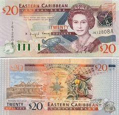 Antigua & Barbuda 20 Dollars (2003)  Obverse: Queen Elisabeth II; turtle; green-throated carib; fishes. Reverse: Government House in Montserrat; Eastern Caribbean map; Nutmeg in Grenada.