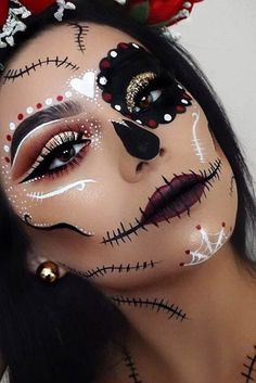 45 cool Halloween costume ideas for women - Samantha Fashio .- 45 coole Halloween-Kostüm-Ideen für Frauen – Samantha Fashion Life 45 cool halloween costume ideas for women- pretty sugar skull halloween makeup idea – # Halloween costume ideas - Sugar Skull Make Up, Halloween Makeup Sugar Skull, Cute Halloween Makeup, Halloween Looks, Sugar Skull Costume Diy, Sugar Skull Face Paint, Sugar Skull Dress, Sugar Skull Nails, Sugar Skulls
