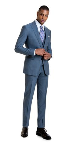 See how we made the light blue fine stripe 3 piece suit warm weather ready with an open weave fabric and light blue color that make this one of our favorite summer suits. Mens Dress Outfits, Men Dress, Sharp Dressed Man, Well Dressed Men, Mens Fashion Suits, Mens Suits, Men's Fashion, Suit Fit Guide, Men's Business Outfits