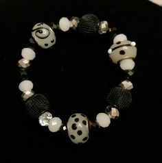 Handmade Black White and Silver Stretch Bracelet - Women - One of a Kind - Gift - Teen - Accessory - Classic - Unique - Bracelet - Stretch