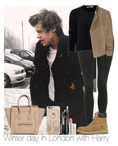 """""""Winter day in London with Harry"""" by irish26-1 ❤ liked on Polyvore featuring Sebastian Professional, Casetify, Topshop, T By Alexander Wang, Timberland, McQ by Alexander McQueen and Lancôme"""
