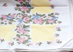Beautiful Vintage TableCloth with Yellow by StitchesandSwatches