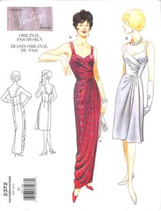 Mock wrap, underlined dress, below mid-knee or evening length, has shoulder straps, close-fitting, boned bodice with left front pleats, right front gathers, straight skirt, concealed slit, overlay wit
