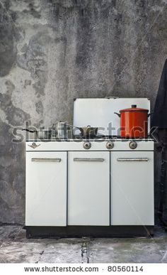 vintage cooker with old pots - stock photo Stock Foto, Double Vanity, Vintage Photos, Cooker, Creative, Photos, Pictures, Double Sink Vanity