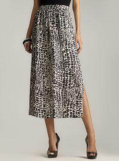 Alligator Print Side Slit Silk Skirt