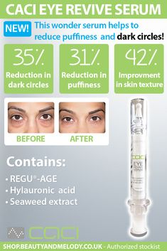 Providing non-surgical skincare solutions for over 20 years, CACI's impressive range of products deliver highly effective results to keep you looking young and glowing.  The new CACI Eye Revive Serum gently tightens sagging muscles to reduce the appearance of fine lines and wrinkles, as well as combating dark circles and puffiness. Look and feel spectacular with this active at home treatment.