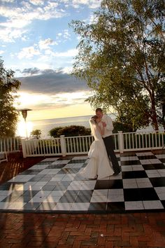 Wedding dance floor with views of Lake Michigan's Little Traverse Bay from the patio of The Inn at Bay Harbor - A Renaissance Golf Resort. Bay Harbor, Michigan. #boyne