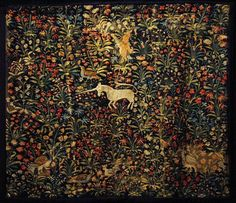 Mille-Fleur embroidered tapestry, 1500's, Flanders, Belgium