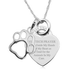 A Vet Tech Prayer Sterling Silver Heart Necklace Personalised/Engraved on Etsy, $46.99