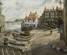 """""""Robin Hood's Bay in Wartime"""" (1940) by Richard Eurich (1903 - 1992) An English painter who was known for his seascapes and narrative paintings. These were often invested with a sense of mystery and wonder which have tended to set him apart from mainstream development of Art in the Twentieth Century. http://en.wikipedia.org/wiki/Richard_Eurich"""