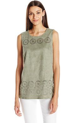 Vince Camuto Women's S/L Laser Cut Faux Suede Shell, Sage, Medium Best Price