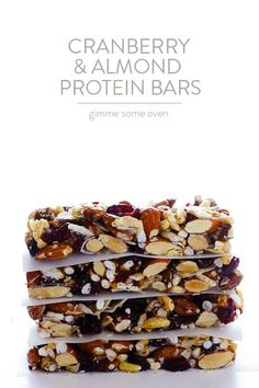Cranberry Almond Protein Bars -- way cheaper than fruit and nuts bars at the store, and naturally gluten-free! Protein Bar Recipes, Protein Snacks, Protein Bars, Snack Recipes, Cooking Recipes, High Protein, Protein Muffins, Protein Cookies, Healthy Protein