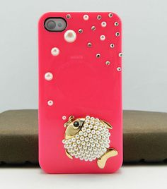 3d fish, pearls, pink case, iPhone 4s