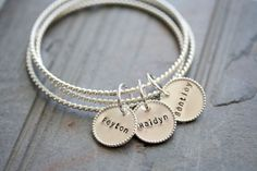 Totally Twisted Sterling Silver Charm Bangles Bracelet - Set of Three Bangles Featuring 3 Personalized Stamped Beaded Charms