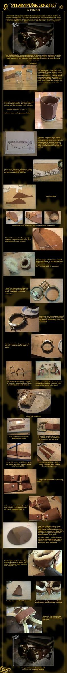 Goggles Tutorial A tutorial on how to create your own steampunk goggles.A tutorial on how to create your own steampunk goggles. Moda Steampunk, Steampunk Airship, Steampunk Goggles, Steampunk Wedding, Dieselpunk, Steampunk Fashion, Fashion Goth, Steampunk Cosplay, Steampunk Halloween