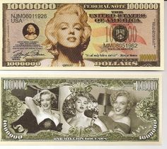 Marilyn Monroe Million Dollar Novelty Bill Play Money, 2015 Amazon Top Rated Gag Toys & Practical Jokes #Toy