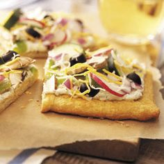 Topped with crisp veggies, this fresh-tasting pizza makes a cool appetizer on a warm day. | Cold Vegetable Pizza Recipe from Taste of Home