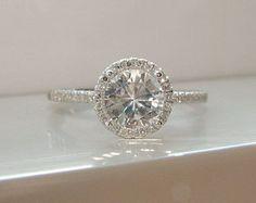 Halo White Sapphire Diamond Ring Gemstone Engagement Ring Custom Cushion Round Halo Setting 14K White Gold size