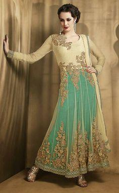 USD 106.86 Brown and Blue Zardosi Work Net Anarkali Salwar Suit 27718