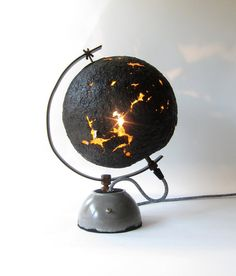GLOBE EGGSHELL table lamp, paper mache, iron support and concrete base