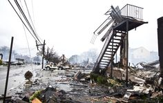 Breezy Point, Queens - homes destroyed by fire.