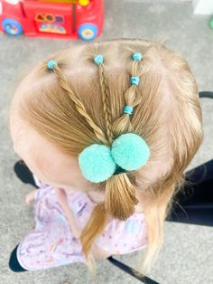 My cute little nice had a play date with Charlee and of course I had to do her hair! Love the pop of color 🥰 follow us on Instagram/TikTok/Youtube for more cute ideas!