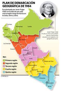 Regiones políticas planteada por Javier Pulgar Vidal.
