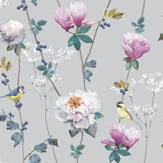 Colourful floral wallpaper that shows the beauty of nature at its best! With encased glitter technique