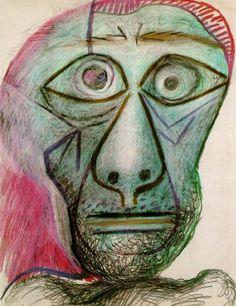 Автопортрет Пабло Пикассо. 1972 года исполнен восковыми мелками на бумаге и представляет широкий простор для истолкования, равно как для поиска и анализа побудительных мотивов и причин — а художник просто реализовал себя.