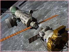 LunarOrbitalStation - A lunar lander (foreground) arrives at the lunar orbital station, LOS (center). After a successful docking, the crew, which arrived at the LOS onboard a separate transport ship (background), will board the lander for the final leg of its journey to the Moon. The ascent stage of the lunar lander from the previous sortie to the Moon can be seen parked at the peripheral docking port of the LOS