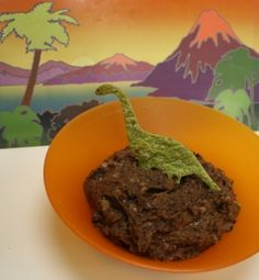 Dinosaur Chips and Black Bean Tar Pit Dip .... this could be great with Organicasaurus Organic Cheese Puffs or BOPS Chips!