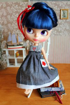 Cute day dress for Blythe doll by MiniMissFits on Etsy