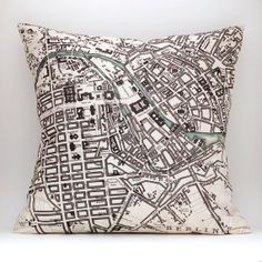 vintage style BERLIN map pillow DIY KIT, made to order 16x16 envelope style