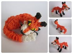 Part 1/2 Loombicious 3D red fox Rainbow Loom - YouTube