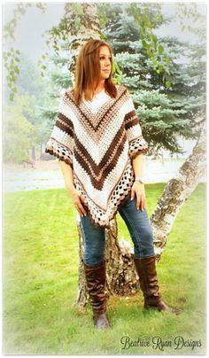 Coffee and Cream Poncho. Coffee and Cream Poncho Free Crochet Pattern from Beatrice Ryan Designs! Cardigan Au Crochet, Knitted Poncho, Crochet Scarves, Crochet Shawl, Crochet Clothes, Knit Crochet, Crochet Sweaters, Crochet Vests, Doilies Crochet