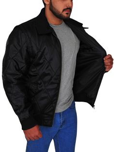 The Ryan Gosling Scorpion Drive Logo Jacket is a classic looking black jacket made from satin with full-length sleeves and a zipper style closure. Ryan Gosling Drive, Scorpion, Black Fabric, Rib Knit, Shirt Style, Bomber Jacket, Leather Jacket, Celebs, Sleeves