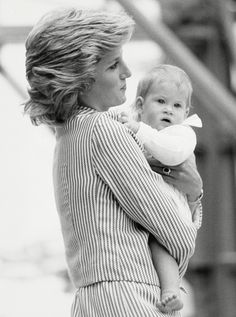 August, 1985: Princess Diana and Prince Harry on The Royal Yacht Britannia in Southampton.