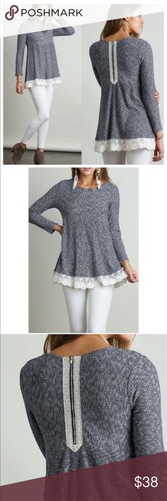 """❤Knit Tunic with Lace Trim &Back Zipper Knit Tunic with Lace Trim and Back Zipper. The material has a nice thermal texture to it.  It's not thin.  *HEIGHT OF MODEL: 5'11"""" / SIZE: SMALL    Questions? Please ask.  I want your Poshmark experience to be easy & enjoyable. Thank you for shopping at Posh Mishmosh. Posh Mishmosh Tops Tunics"""