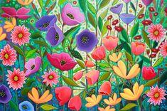 Acrylic Painting Flowers, Acrylic Painting Techniques, Flower Paintings, Garden Painting, Painting Art, Whimsical Art, Graffiti Art, Beautiful Paintings, Flower Art